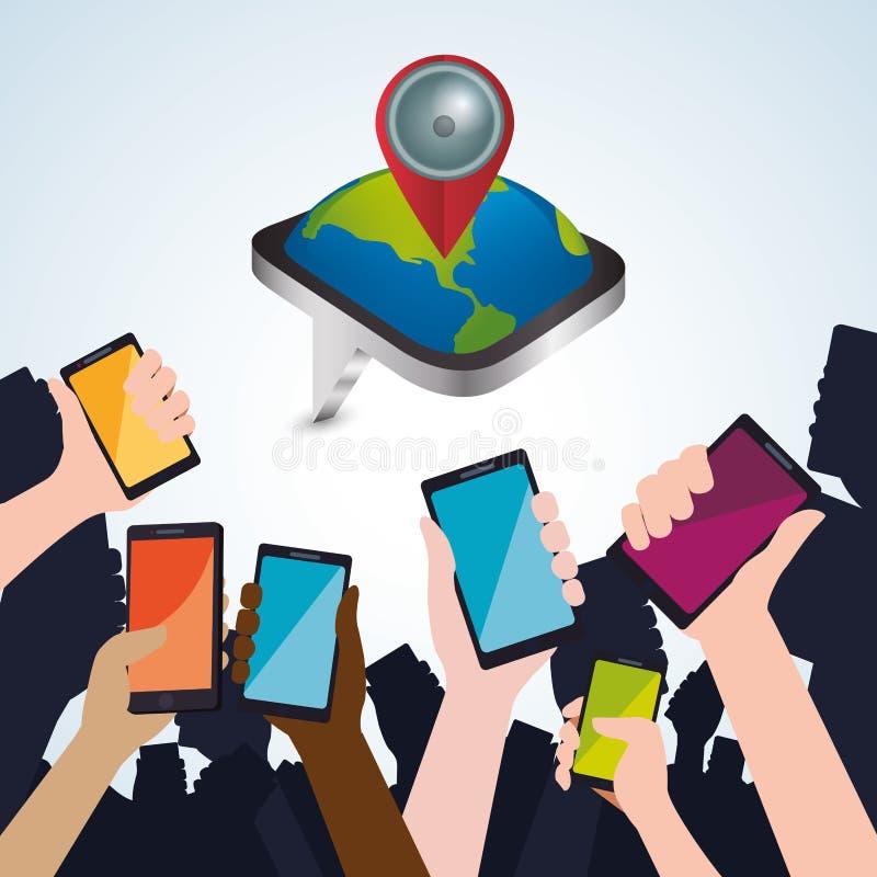 Smartphone design app-begrepp färgrik illustration stock illustrationer