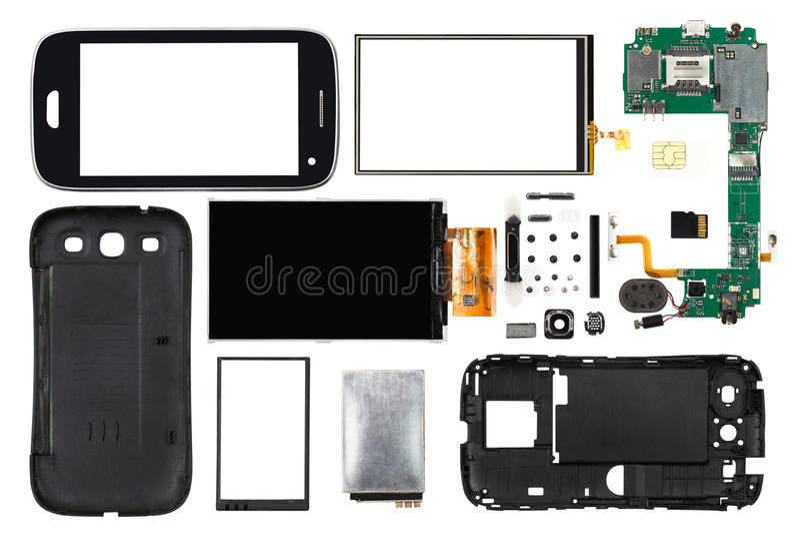 Smartphone desmontado isolado no fundo branco imagens de stock