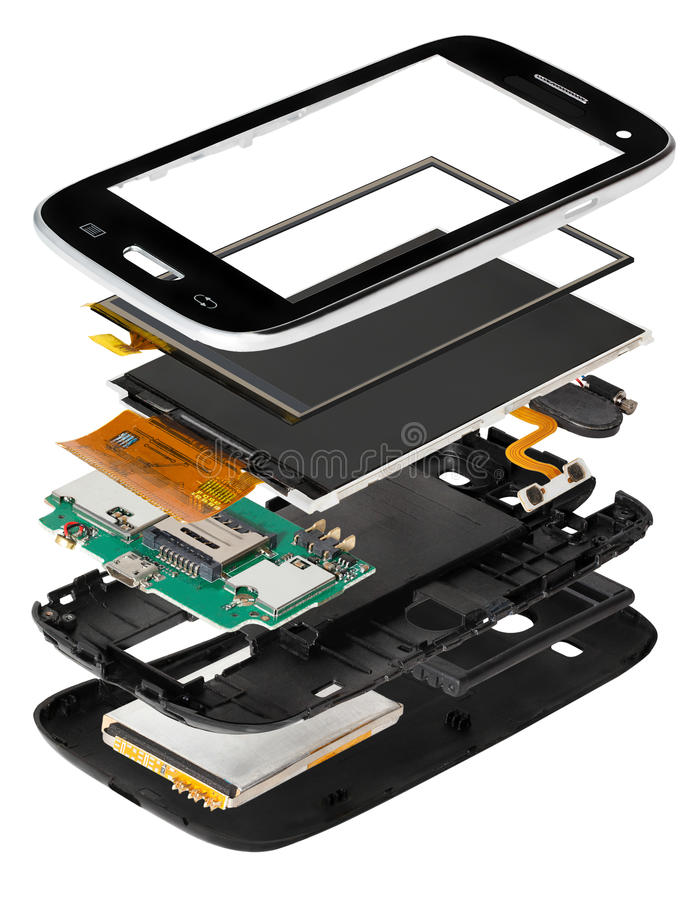 smartphone desmontado isometry foto de stock royalty free