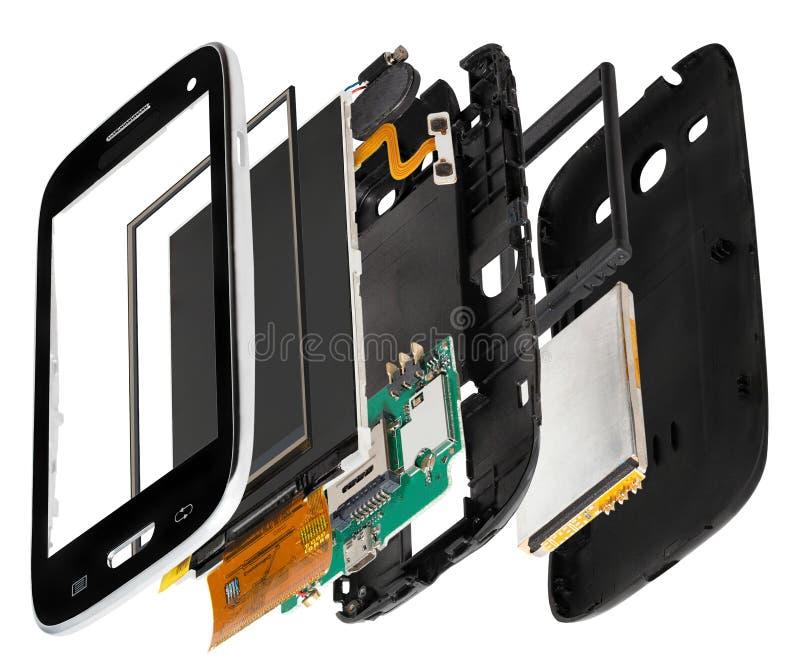 smartphone desmontado isometry imagens de stock