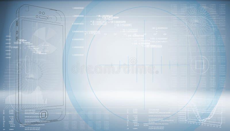 Smartphone di schizzo su un fondo blu alta tecnologia illustrazione vettoriale