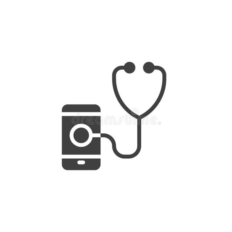 Smartphone diagnostic vector icon. Filled flat sign for mobile concept and web design. Mobile phone with stethoscope glyph icon. Symbol, logo illustration stock illustration