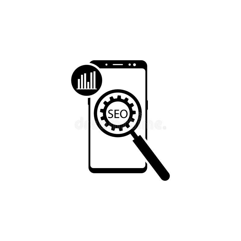 smartphone, diagram, förstoringsapparat, kugghjulvektorsymbol för websites och mobil minimalistic plan design vektor illustrationer