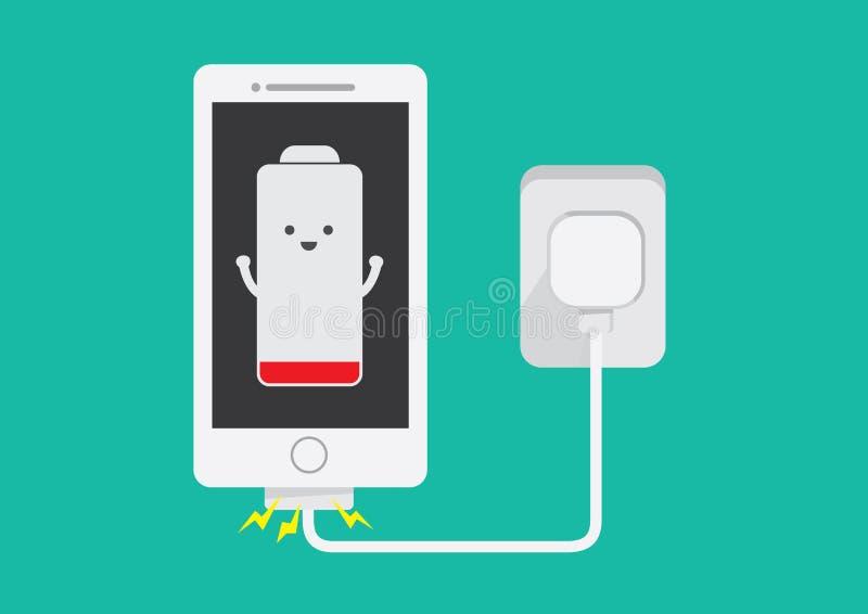Smartphone die batterij laden vector illustratie