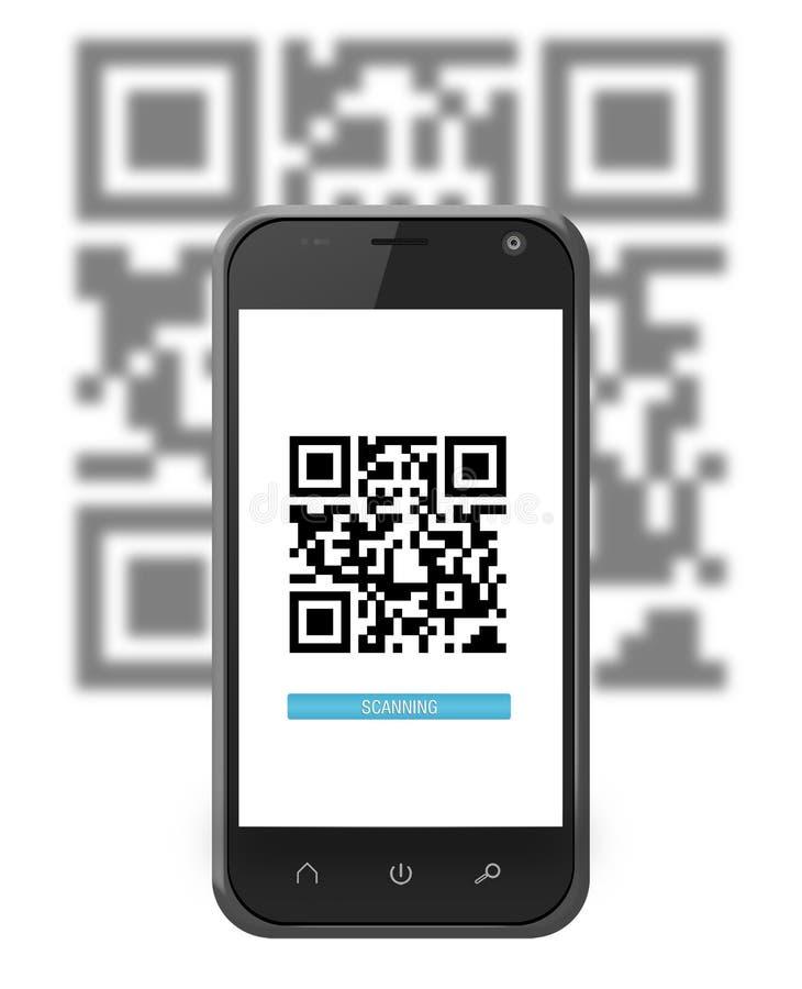 Smartphone die een QR-code aftasten stock illustratie