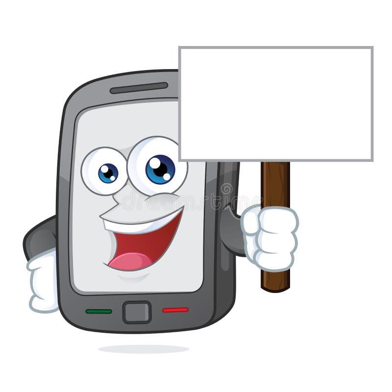 Smartphone die een teken houden vector illustratie