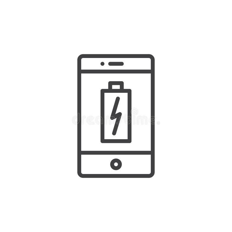 Smartphone die het pictogram van de batterijlijn laden royalty-vrije illustratie
