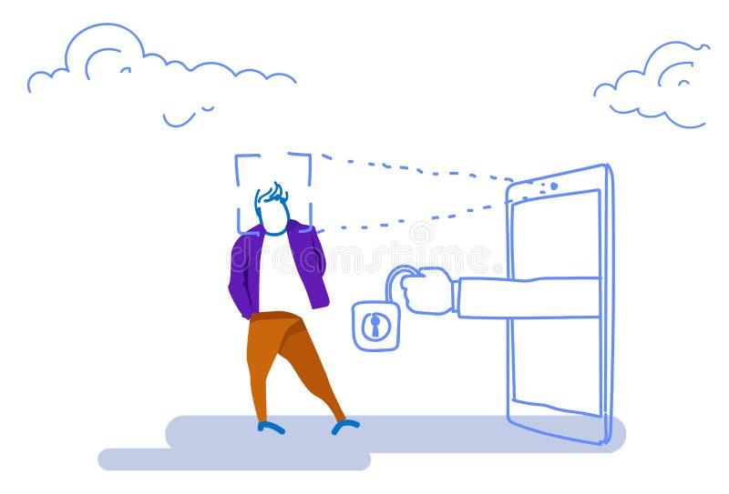 Smartphone die identiteitskaart van het mensengezicht aftasten opent van de de identificatievergunning van de hangsloterkenning d vector illustratie