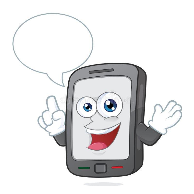 Smartphone die met toespraakbel spreken stock illustratie