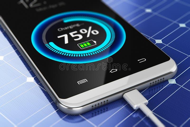 Smartphone die met zonnepaneellader belasten stock illustratie