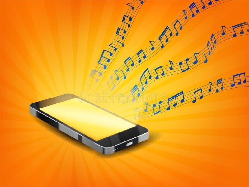 Smartphone die muziek met de drijvende nota van de steekproef willekeurige muziek spelen om het even welk lied niet aanpassen vector illustratie