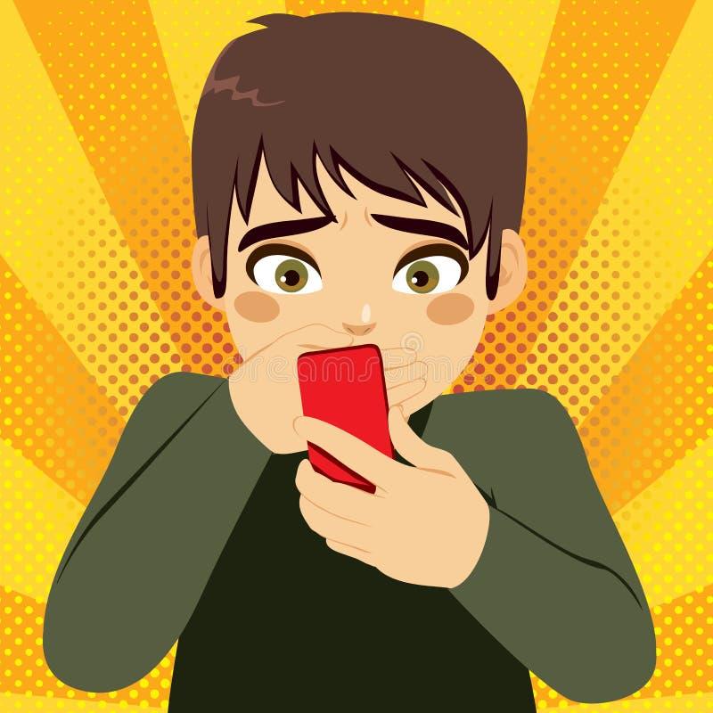 Smartphone die Tienerjongen intimideren stock illustratie