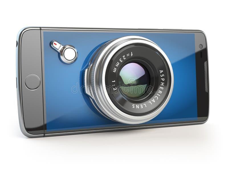 Smartphone digital camera concept. Mobile phone with camera lens. On white. 3d illustration stock illustration
