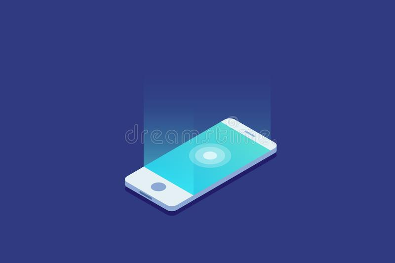 Smartphone. Digital gadget. Touchscreen mobile phone glows. vector illustration