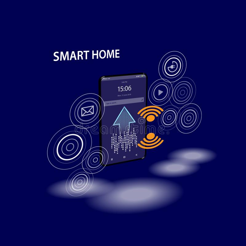 Smartphone with digital logo smart home stand at iot icons. Smart phone controls devices of smart home via wireless. Connection and voice commands vector illustration
