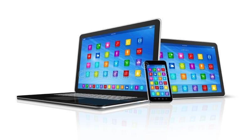 Smartphone, Digitale Tabletcomputer en Laptop vector illustratie