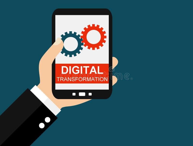 Smartphone: Digitale Transformatie - Vlak Ontwerp royalty-vrije illustratie