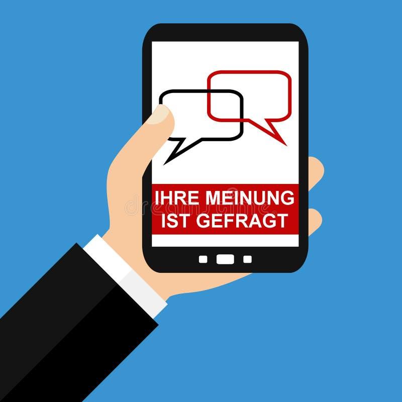 Smartphone: Din åsikt räknar tysk - plan design stock illustrationer