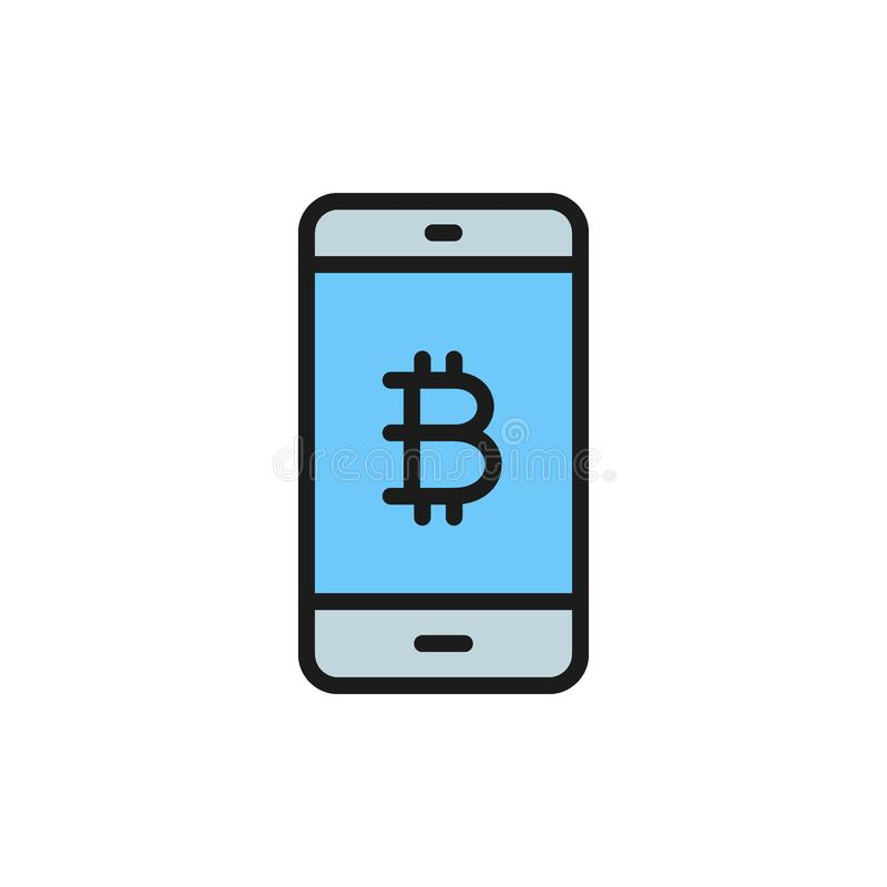 Smartphone display with bitcoin sign, blockchain flat color icon. Vector smartphone display with bitcoin sign, blockchain flat color icon. Symbol illustration royalty free illustration