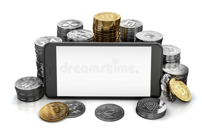 Smartphone display with space for random design surrounded by different cryptocurrencies piles. Isolated on white. With copyspace. 3D rendering royalty free illustration