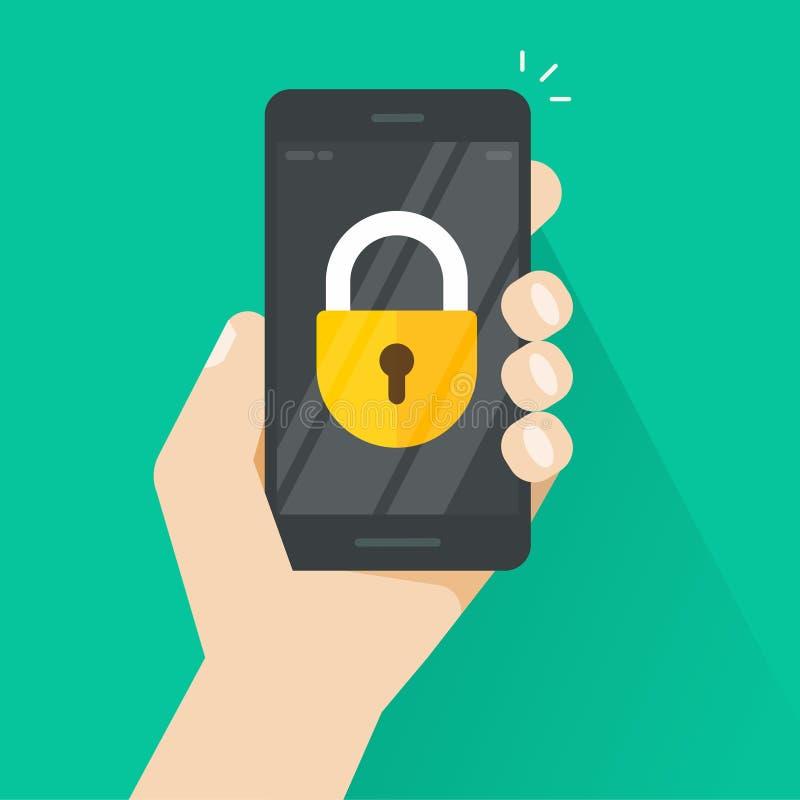 Smartphone a disposición con el icono en vector de la pantalla, teléfono móvil bloqueado de la cerradura ilustración del vector