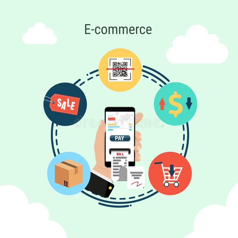 Smartphone a disposición, concepto infographic del comercio electrónico ilustración del vector