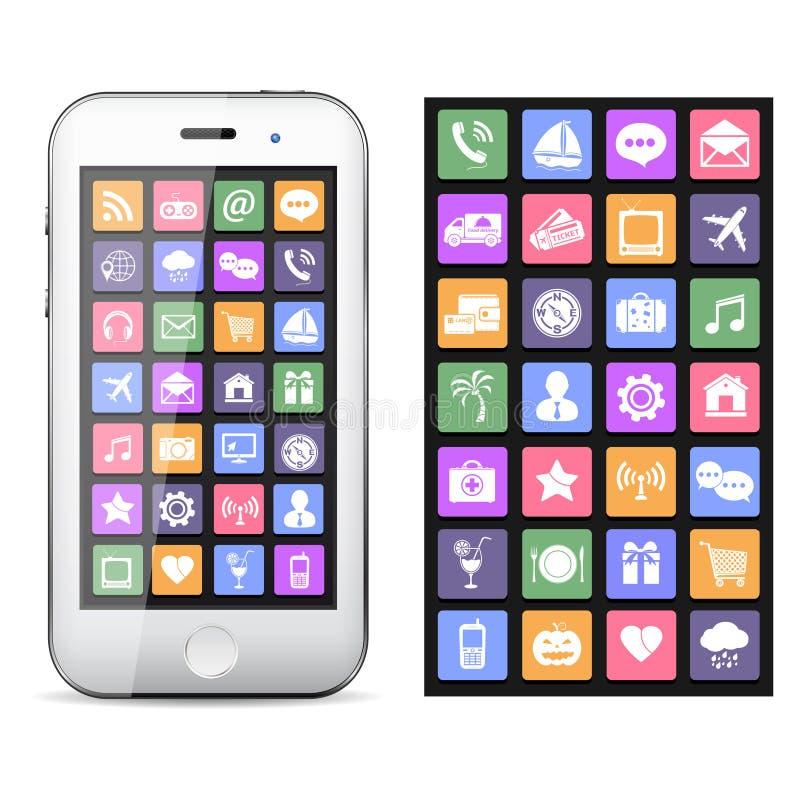 Smartphone do écran sensível com ícones coloridos da aplicação ilustração do vetor