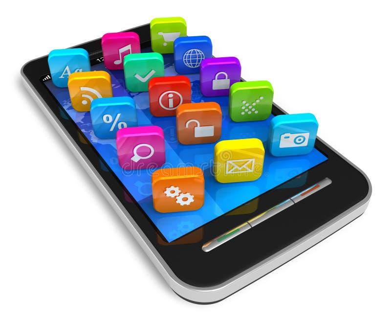 Smartphone do écran sensível com ícones da aplicação ilustração do vetor