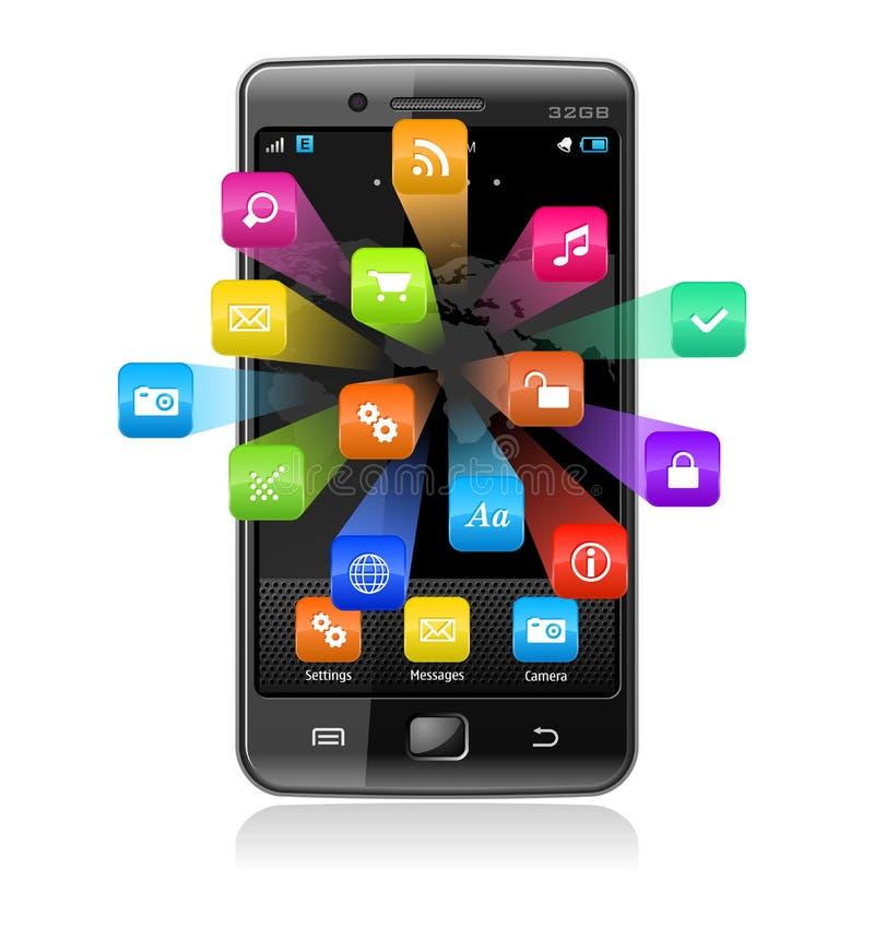 Smartphone do écran sensível com ícones da aplicação ilustração stock