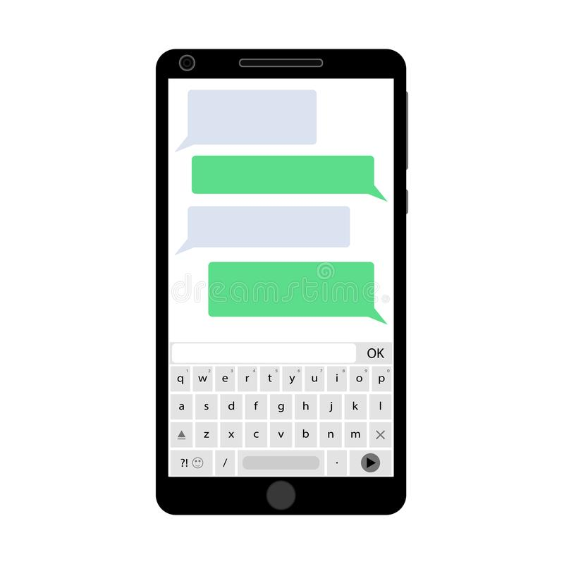 Smartphone do app do mensageiro ilustração royalty free