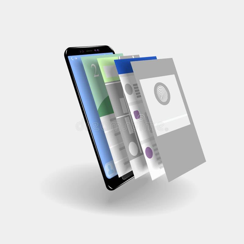 Smartphone do tela táctil com as páginas do app ilustração stock