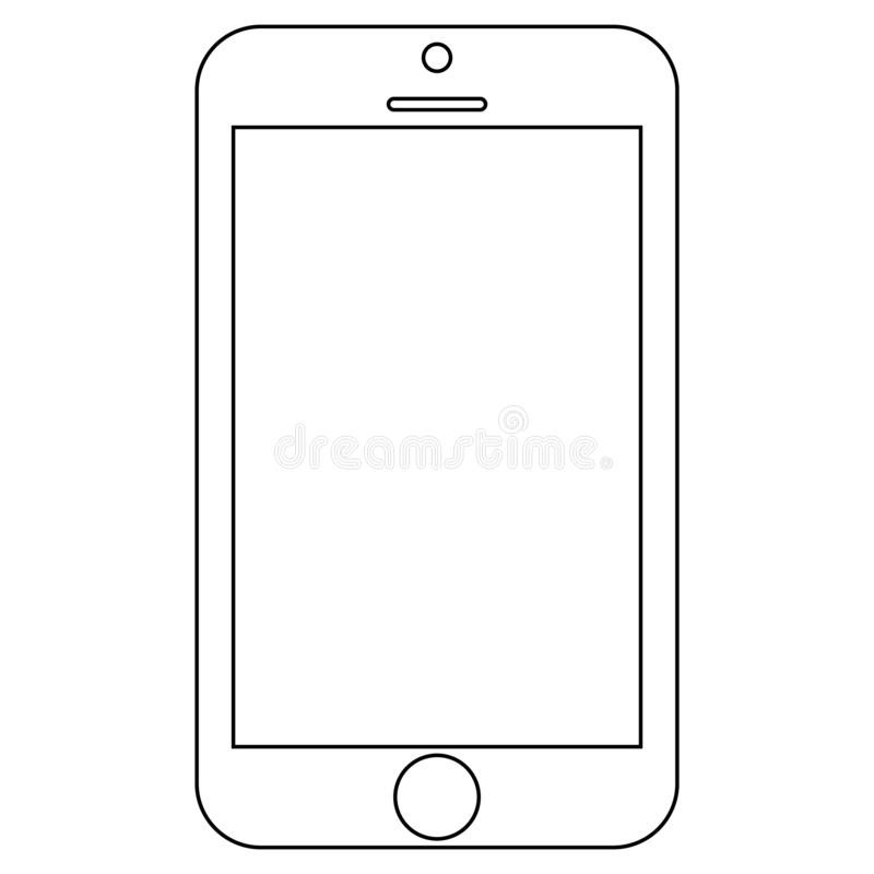 Smartphone do telefone celular do preto do esboço com o botão do menu no fundo branco Vetor eps10 do ícone do smartphone do esboç ilustração stock