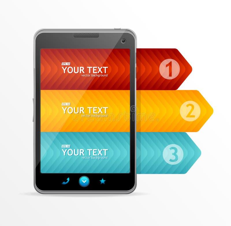 Smartphone do vetor com a bandeira infographic da opção ilustração royalty free