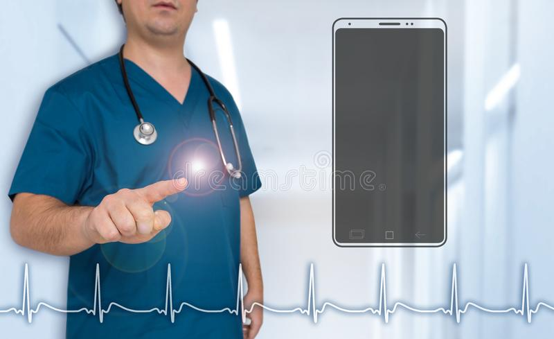 Smartphone doctor pointing at viewer concept stock photo