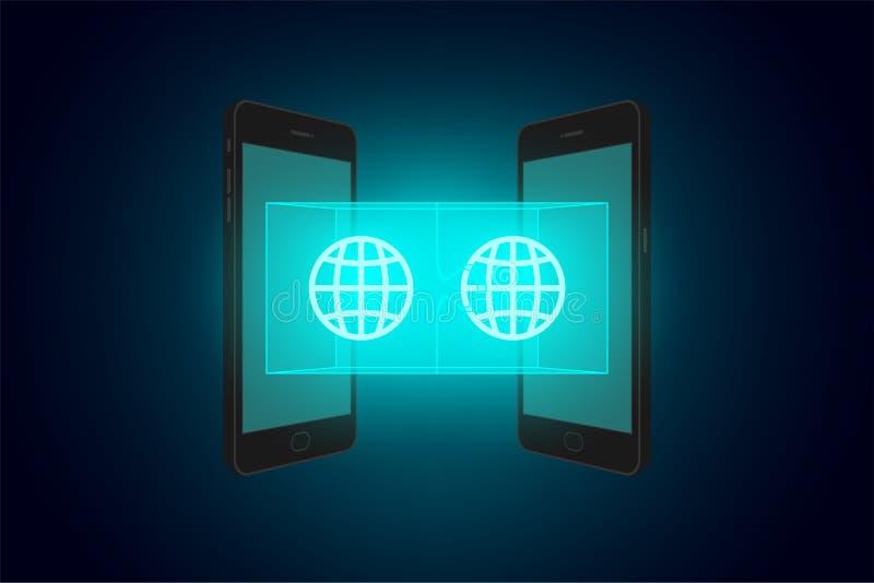 Smartphone dois com enigma de serra de vaivém 3d e grupo de símbolo Netw da rede ilustração royalty free