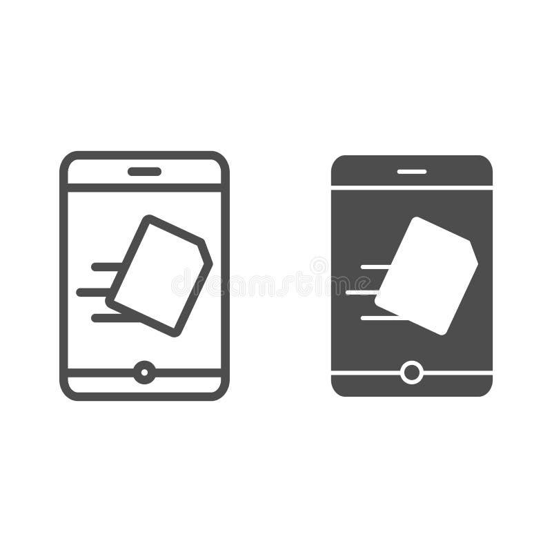 Smartphone dosłania dokumentu linia i glif ikona Kartoteki przeniesienie na telefon wektorowej ilustracji odizolowywającej na bie royalty ilustracja