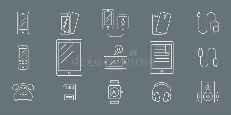Smartphone e ícones 01 dos acessórios ilustração do vetor