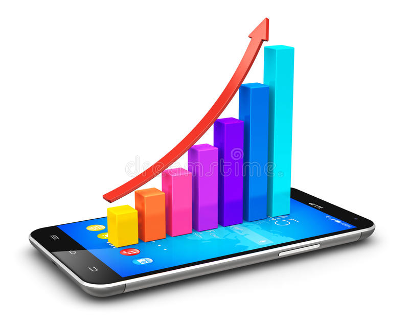Smartphone e carta de barra crescente com seta ilustração do vetor