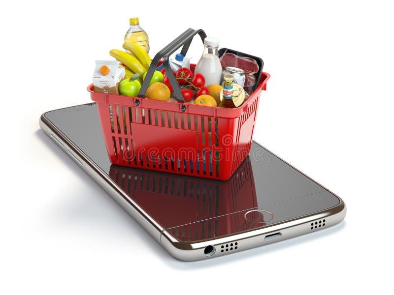 Smartphone e cestino della spesa con alimento e la bevanda Groc online illustrazione di stock