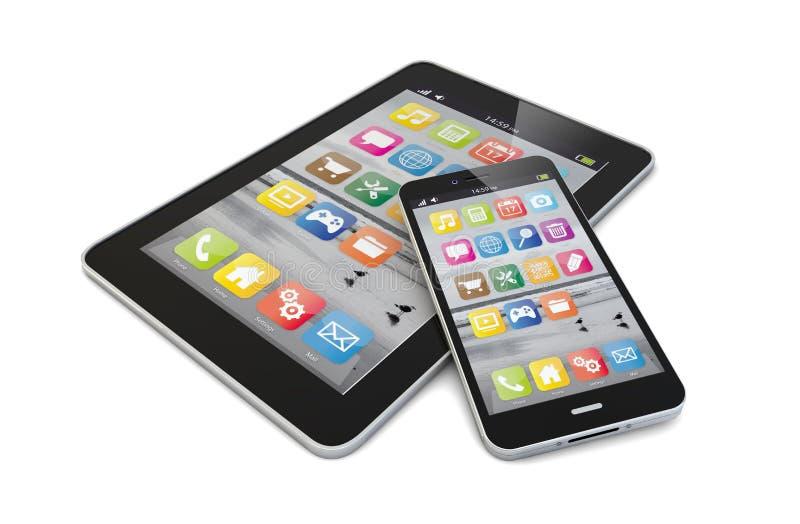 Smartphone e compressa immagine stock libera da diritti