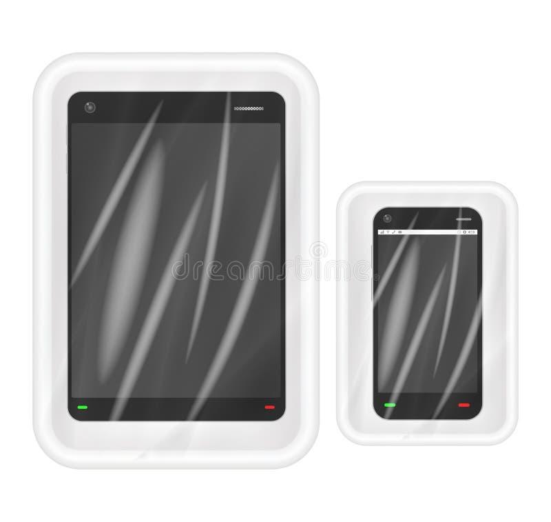 Smartphone e compressa nell'imballaggio bianco del polistirolo illustrazione vettoriale
