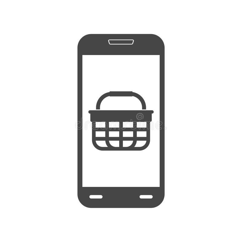 Smartphone e icono de la carta de las compras ilustración del vector