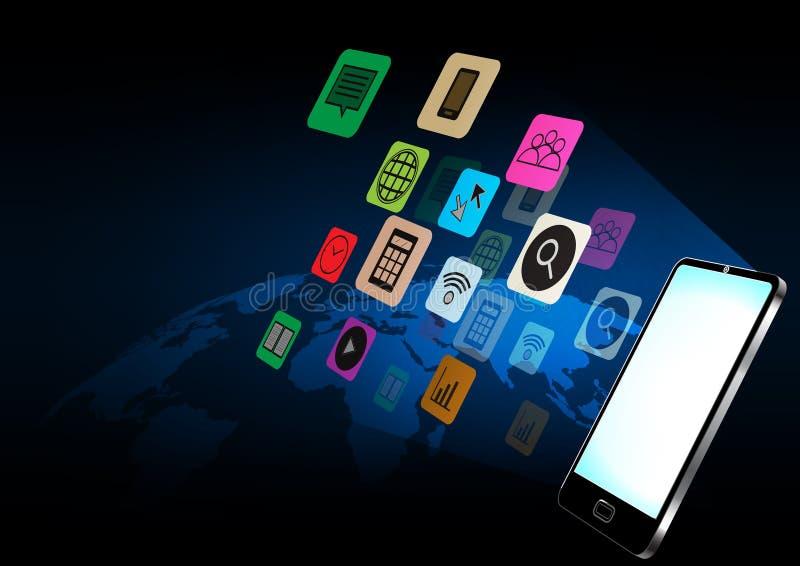 Smartphone e ilustração do vetor do conceito da aplicação ilustração royalty free