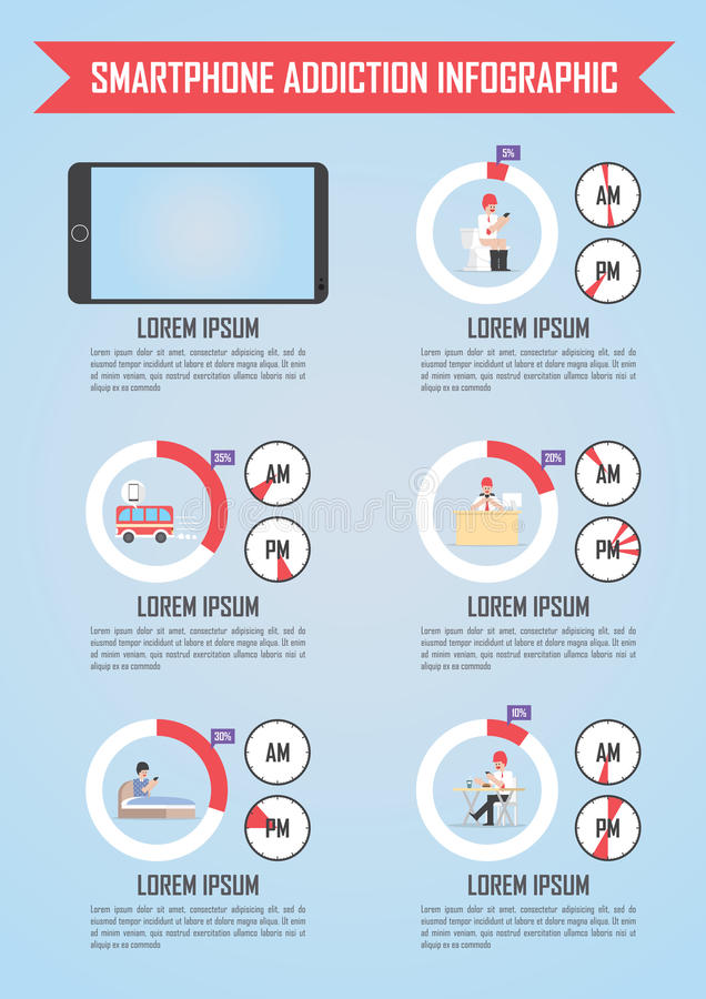 Smartphone e infographics del apego de Internet stock de ilustración