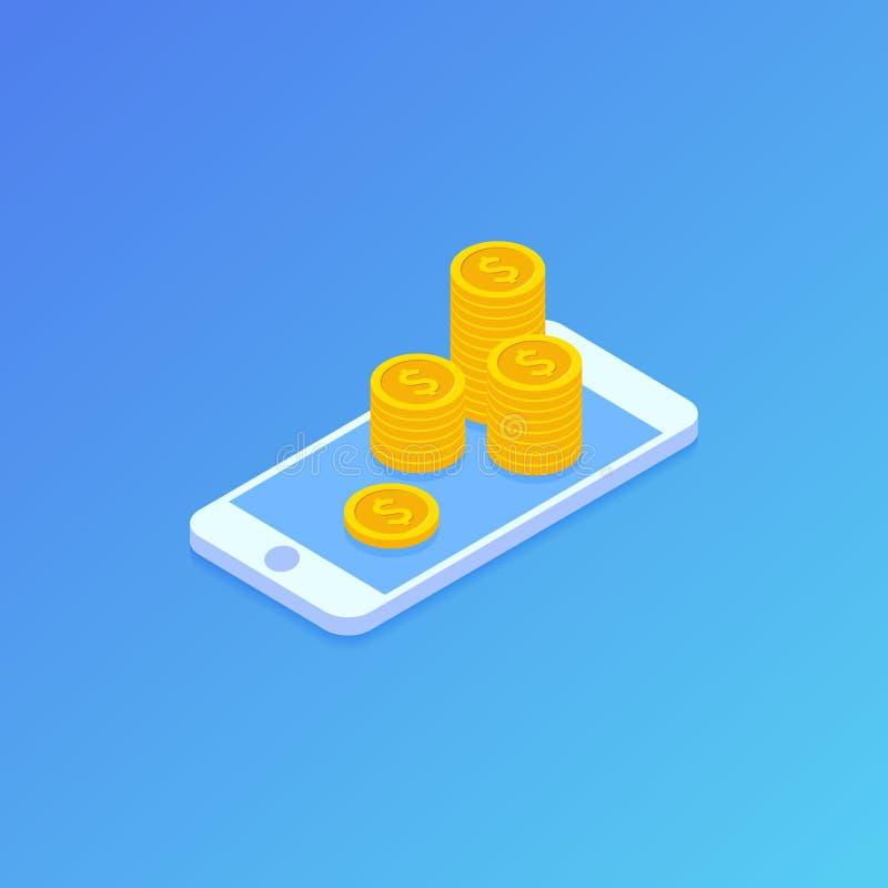 Smartphone e monete dei soldi Stile isometrico Priorità bassa dell'illustrazione di vettore illustrazione vettoriale