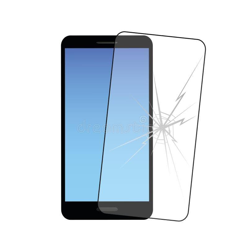 Smartphone e película protetora móvel com quebra ilustração do vetor