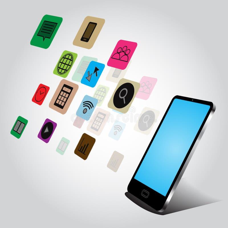 Smartphone e projeto de conceito da aplicação no fundo branco ilustração do vetor