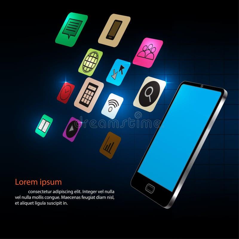 Smartphone e projeto de conceito dos ícones da aplicação ilustração royalty free