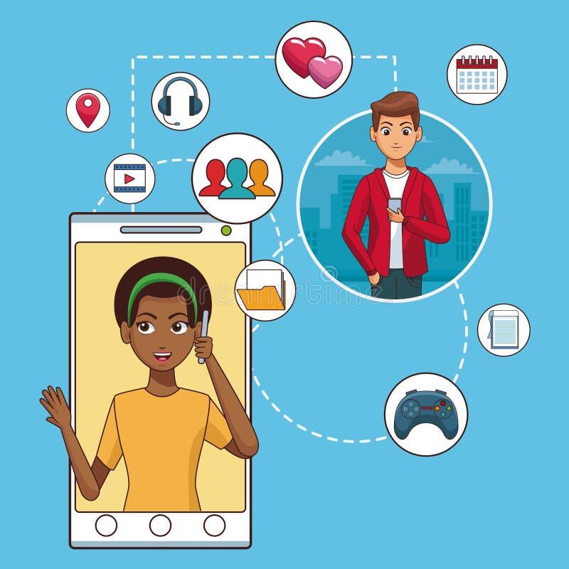Smartphone e rete sociale illustrazione vettoriale