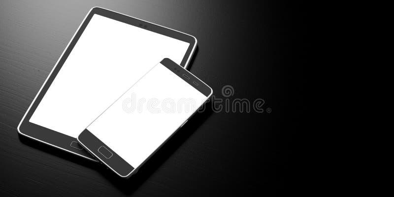 Smartphone e tabuleta com as telas brancas vazias no fundo preto, espaço da cópia ilustração 3D ilustração do vetor